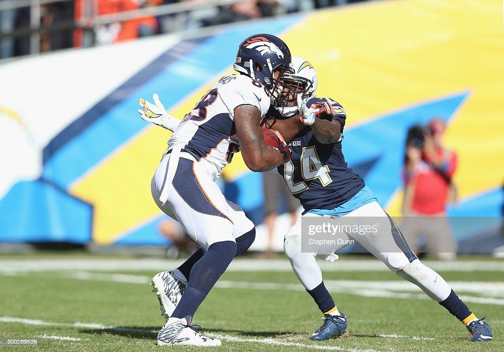 Wide receiver <a gi-track='captionPersonalityLinkClicked' href=/galleries/search?phrase=Demaryius+Thomas&family=editorial&specificpeople=4536795 ng-click='$event.stopPropagation()'>Demaryius Thomas</a> #88 of the Denver Broncos carries to the three yard line on a 21 yard pass play to set up the Broncos's first quarter touchdown against cornerback <a gi-track='captionPersonalityLinkClicked' href=/galleries/search?phrase=Brandon+Flowers+-+American+Football+Player&family=editorial&specificpeople=7270342 ng-click='$event.stopPropagation()'>Brandon Flowers</a> #24 of the San Diego Chargers at Qualcomm Stadium on December 6, 2015 in San Diego, California.