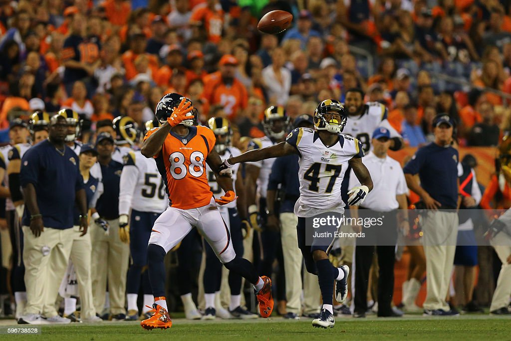 Wide receiver Demaryius Thomas #88 of the Denver Broncos makes a one handed catch after beating cornerback Marcus Roberson #47 of the Los Angeles Rams on a route down the sideline during the second quarter at Sports Authority Field at Mile High on August 27, 2016 in Denver, Colorado.