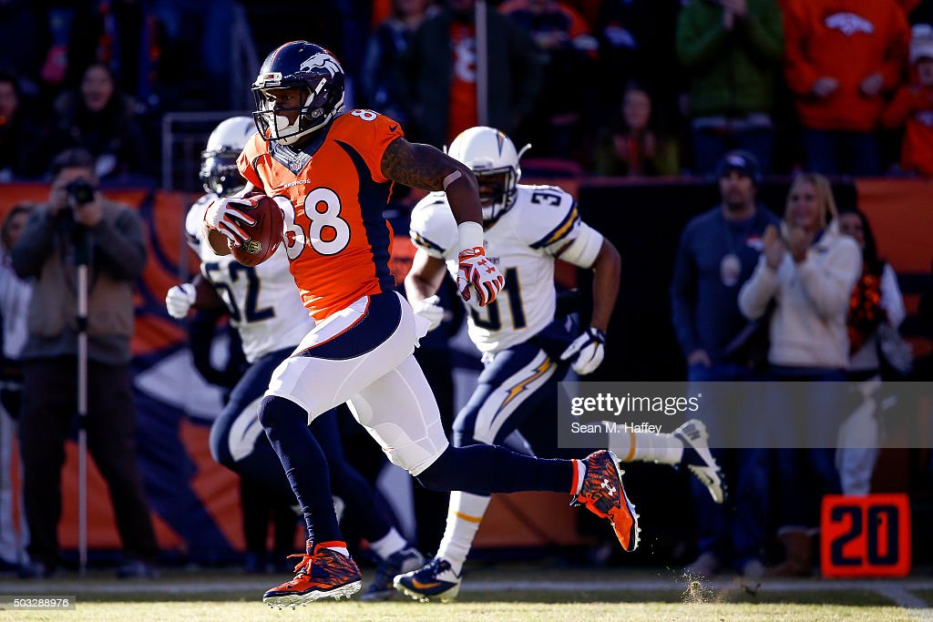 Wide receiver <a gi-track='captionPersonalityLinkClicked' href=/galleries/search?phrase=Demaryius+Thomas&family=editorial&specificpeople=4536795 ng-click='$event.stopPropagation()'>Demaryius Thomas</a> #88 of the Denver Broncos runs clear of the San Diego Chargers defense for a 72-yard first quarter touchdown reception during a game at Sports Authority Field at Mile High on January 3, 2016 in Denver, Colorado.