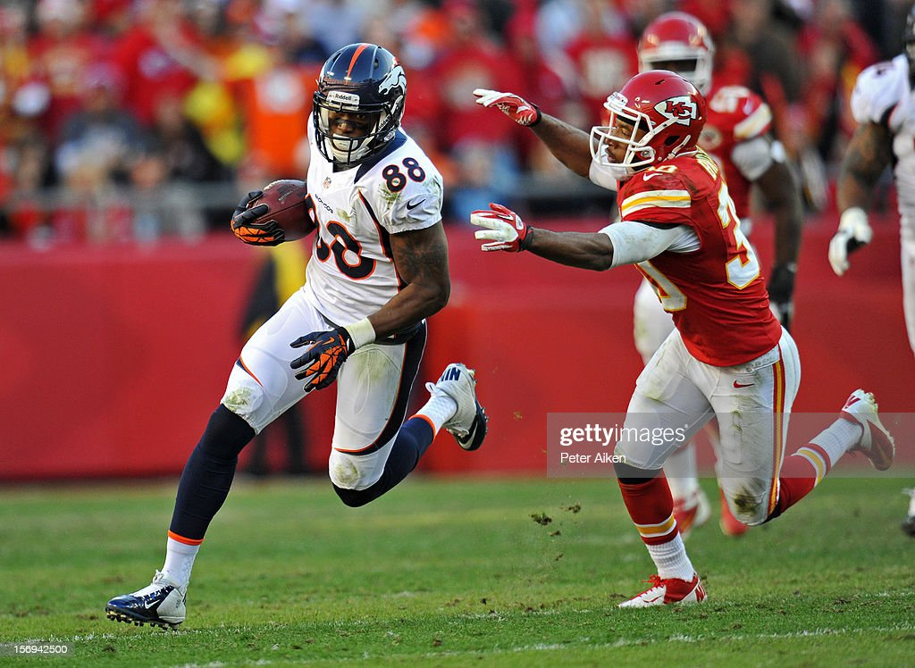 Wide receiver Demaryius Thomas #88 of the Denver Broncos rushes past defensive back Jalil Brown #30 of the Kansas City Chiefs after catching a pass during the second half on November 25, 2012 at Arrowhead Stadium in Kansas City, Missouri. Denver defeated Kansas City 17-9.