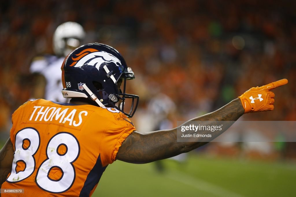 Wide receiver Demaryius Thomas #88 of the Denver Broncos signals a first down in the third quarter of the game against the Los Angeles Chargers at Sports Authority Field at Mile High on September 11, 2017 in Denver, Colorado.