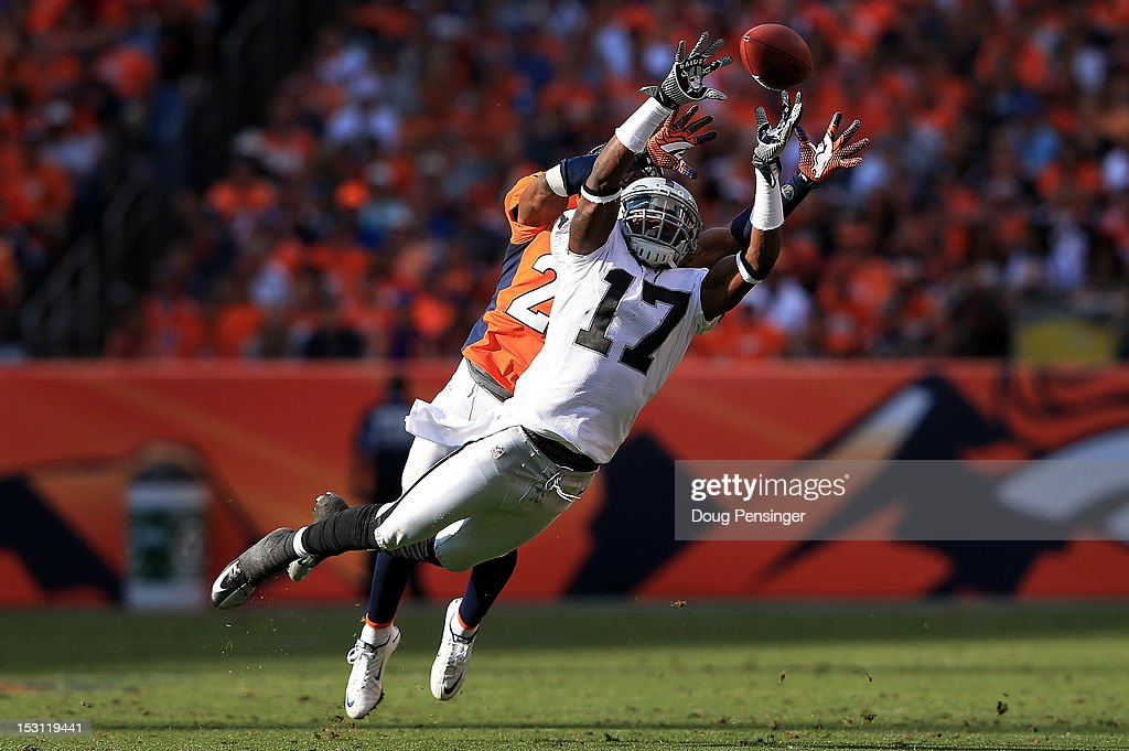 Wide receiver Denarius Moore #17 of the Oakland Raiders is unable to make a reception as cornerback <a gi-track='captionPersonalityLinkClicked' href=/galleries/search?phrase=Champ+Bailey&family=editorial&specificpeople=213482 ng-click='$event.stopPropagation()'>Champ Bailey</a> #24 of the Denver Broncos defends at Sports Authority Field at Mile High on September 30, 2012 in Denver, Colorado.