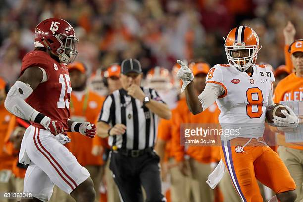 Wide receiver Deon Cain of the Clemson Tigers reacts during the second quarter against the Alabama Crimson Tide in the 2017 College Football Playoff...