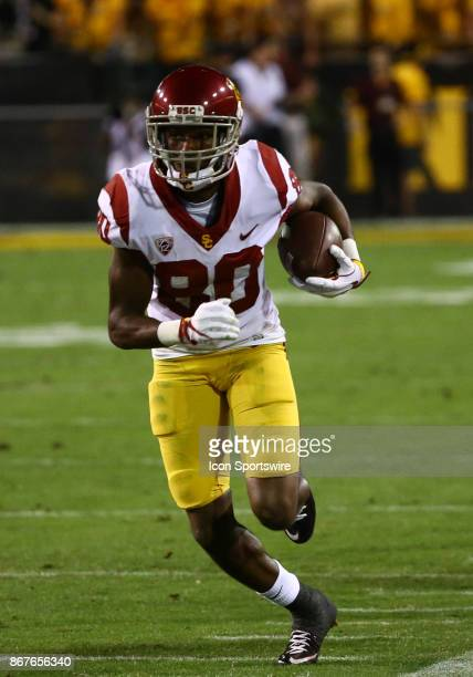 USC wide receiver Deontay Burnett runs the ball down the sideline during the college football game between the USC Trojans and the Arizona State Sun...