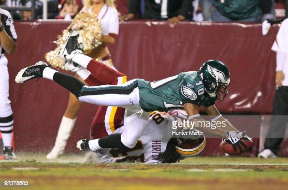 Wide receiver DeSean Jackson of the Philadelphia Eagles catches a pass for a touchdown during a game against the Washington Redskins on October 26...