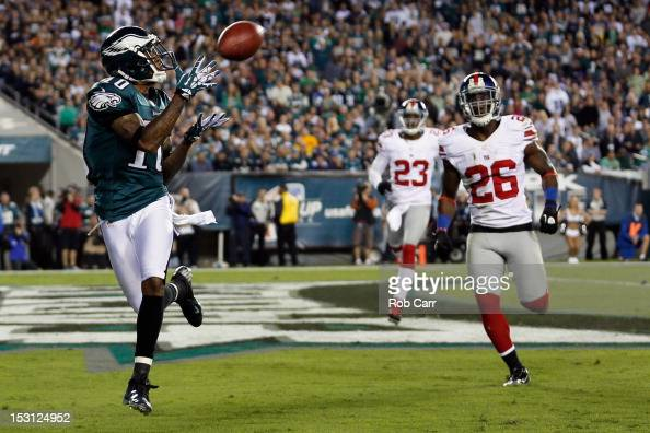 Wide receiver DeSean Jackson of the Philadelphia Eagles catches a touchdown pass in front of free safety Antrel Rolle of the New York Giants during...