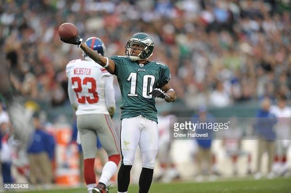 Wide Receiver DeSean Jackson of the Philadelphia Eagles celebrates during the game against the New York Giants on November 1 2009 at Lincoln...