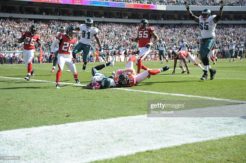 Wide Receiver DeSean Jackson of the Philadelphia Eagles falls into the end zone for a touchdown during the game against the Atlanta Falcons at...
