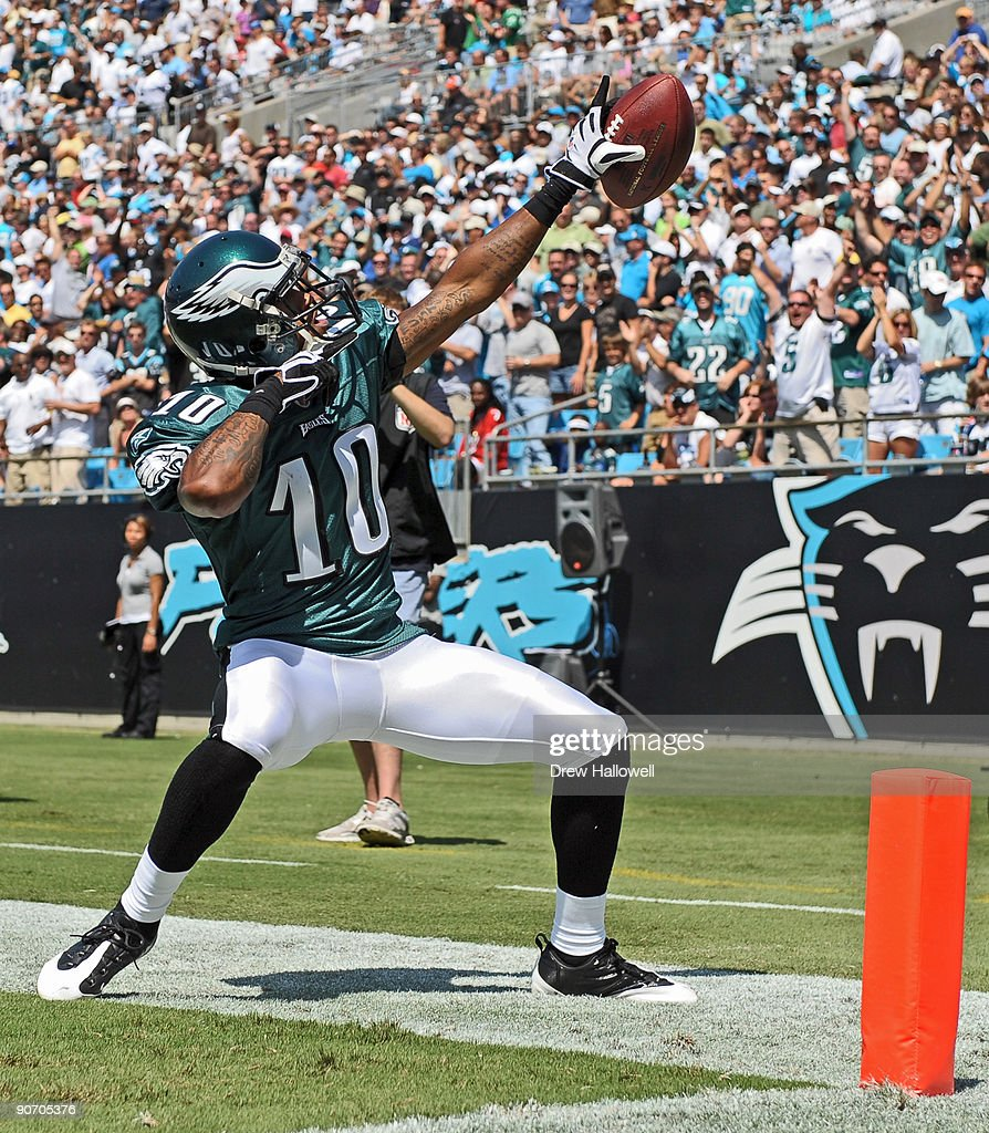 Wide receiver <a gi-track='captionPersonalityLinkClicked' href=/galleries/search?phrase=DeSean+Jackson&family=editorial&specificpeople=2212775 ng-click='$event.stopPropagation()'>DeSean Jackson</a> #10 of the Philadelphia Eagles high celebrates a touchdown on a punt return during the game against the Carolina Panthers on September 13, 2009 at Bank of America Stadium Charlotte, North Carolina.