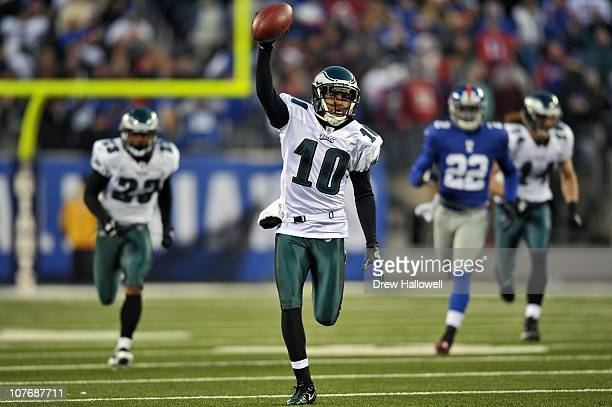 Wide Receiver DeSean Jackson of the Philadelphia Eagles returns a punt for a touchdown and the victory in the final seconds of the game against the...