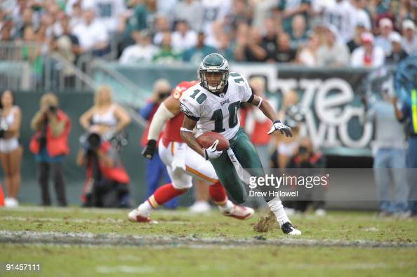 Wide Receiver DeSean Jackson of the Philadelphia Eagles runs for a touchdown after a reception during the game against the Kansas City Chiefs on...