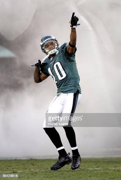 Wide receiver DeSean Jackson of the Philadelphia Eagles runs onto the field during player introductions before a game against the Denver Broncos on...