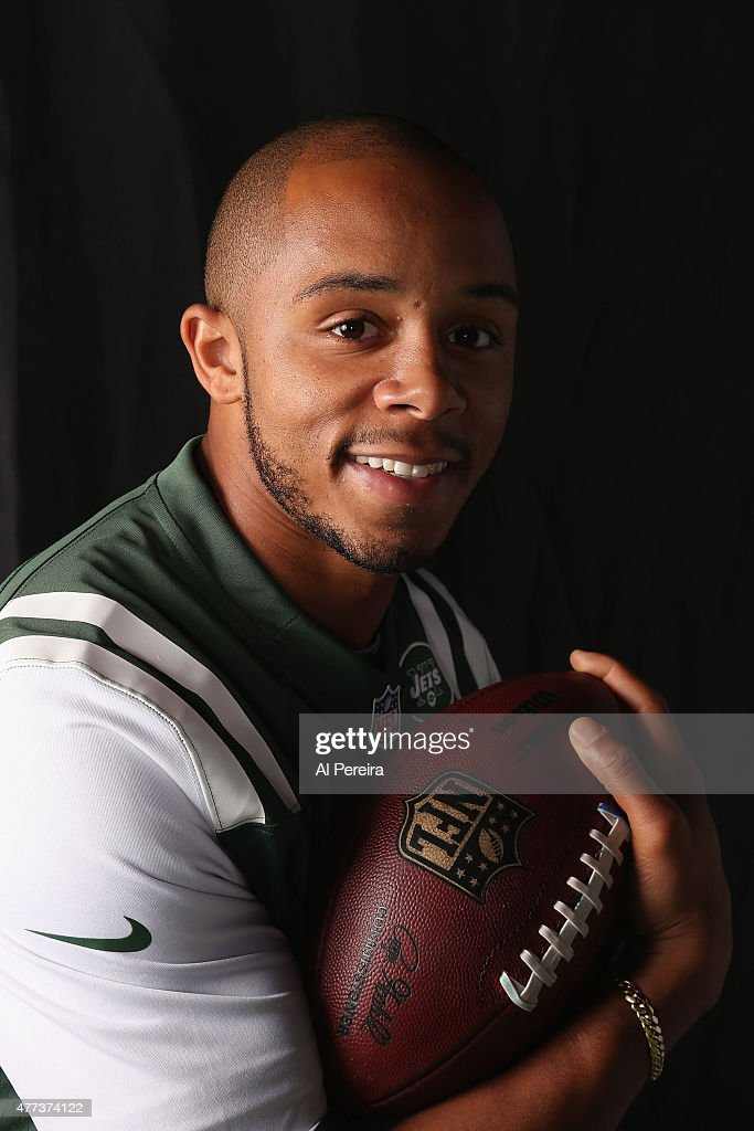 Wide Receiver <a gi-track='captionPersonalityLinkClicked' href=/galleries/search?phrase=DeVier+Posey&family=editorial&specificpeople=5571641 ng-click='$event.stopPropagation()'>DeVier Posey</a> #89 of the New York Jets appears in a portrait on June 16, 2015 in Florham Park, New Jersey.