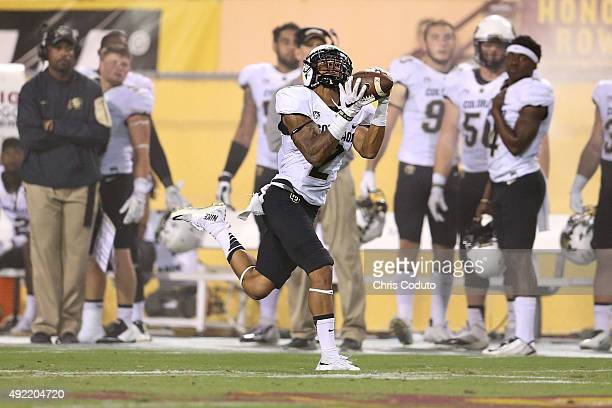 Wide receiver Devin Ross of the Colorado Buffaloes hauls in a third quarter touchdown pass during the college football game against the Arizona State...