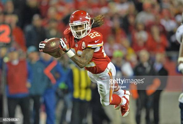 Wide receiver Dexter McCluster of the Kansas City Chiefs makes a diving catch against the Denver Broncos during the second half on December 1 2013 at...