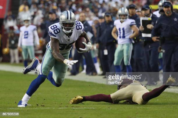 Wide receiver Dez Bryant of the Dallas Cowboys runs upfield against the Washington Redskins during the second quarter at FedEx Field on October 29...