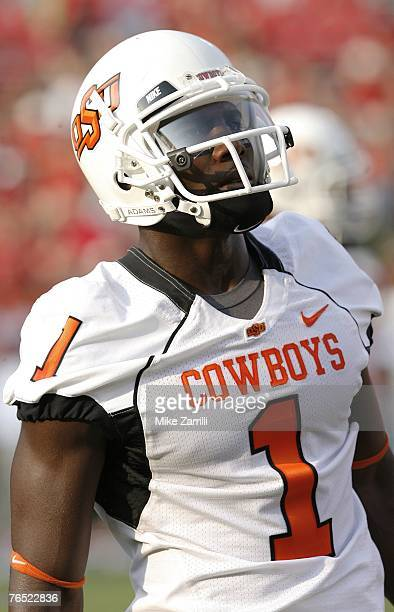Wide receiver Dez Bryant of the Oklahoma State Cowboys takes a breather during pregame warmup sessions before the game against the Georgia Bulldogs...