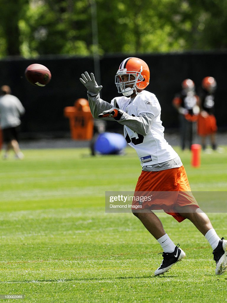 Wide receiver Dion Morton #13 of the Cleveland Browns catches a pass during the team's organized team activity (OTA) on May 19, 2010 at the Cleveland Browns practice facility in Berea, Ohio.