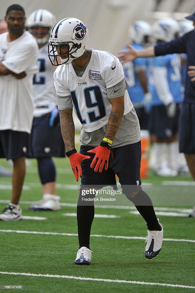 Wide receiver Diondre Borel #19 at the Tennessee Titans rookie camp on May 10, 2013 in Nashville, Tennessee.