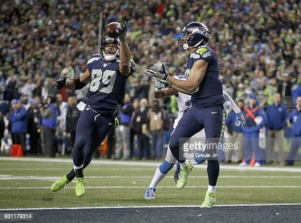 Wide receiver Doug Baldwin of the Seattle Seahawks makes a touchdown catch against the Detroit Lions in the NFC Wild Card game at CenturyLink Field...