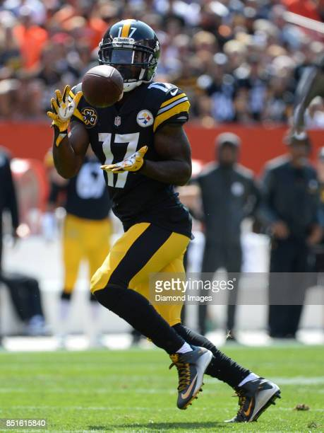 Wide receiver Eli Rogers of the Pittsburgh Steelers catches a pass in the second quarter of a game on September 10 2017 against the Cleveland Browns...