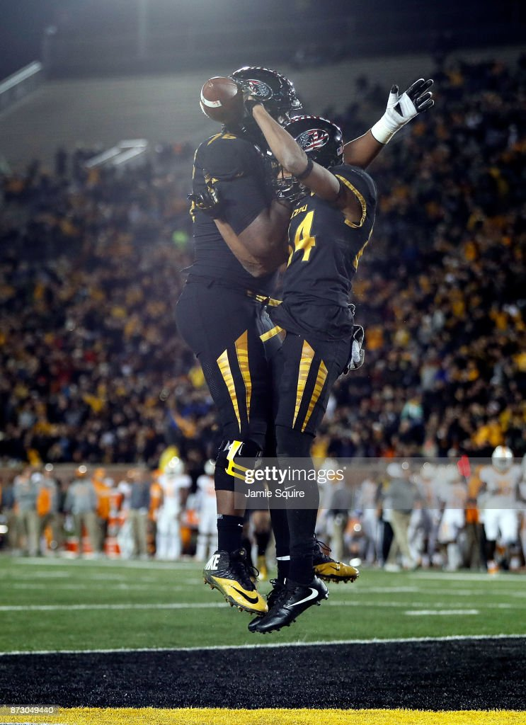 Wide receiver Emanuel Hall #84 of the Missouri Tigers celebrates after a touchdown during the game against the Tennessee Volunteers at Faurot Field/Memorial Stadium on November 11, 2017 in Columbia, Missouri.