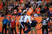 Wide receiver Emmanuel Sanders of the Denver Broncos pulls down his third touchdown catch of the game over cornerback Shareece Wright of the San...