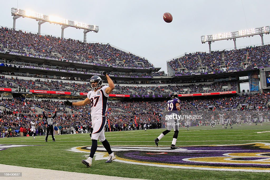 Wide receiver <a gi-track='captionPersonalityLinkClicked' href=/galleries/search?phrase=Eric+Decker&family=editorial&specificpeople=3950667 ng-click='$event.stopPropagation()'>Eric Decker</a> #87 of the Denver Broncos celebrates after catching a third quarter touchdown pass against the Baltimore Ravens at M&T Bank Stadium on December 16, 2012 in Baltimore, Maryland.