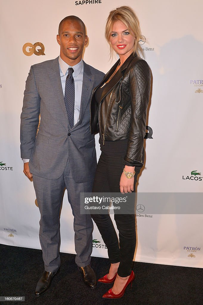 NFL wide receiver for the New York Giants, Victor Cruz and model Kate Upton attend the GQ Super Bowl party sponsored by Lacoste and Mercedes-Benzat The Elms Mansion on February 2, 2013 in New Orleans, Louisiana.
