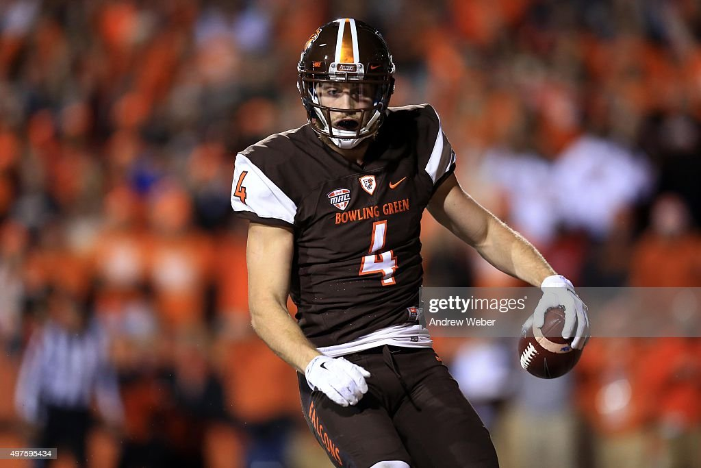 Wide receiver Gehrig Dieter #4 of the Bowling Green Falcons celebrates after catching a pass for a touchdown during the fourth quarter against the Toledo Rockets at Doyt Perry Stadium on November 17, 2015 in Bowling Green, Ohio. Toledo defeated Bowling Green 44-28.