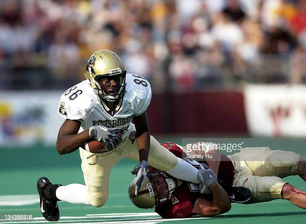 Wide receiver Greg Lee is tackled during Pittsburgh's 2413 victory over BC at Alumni Stadium in Newton Massachusetts
