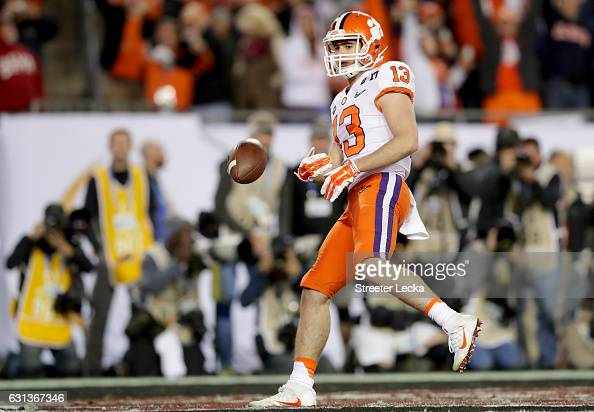 Wide receiver Hunter Renfrow of the Clemson Tigers celebrates after catching a 24yard touchdown pass during the third quarter against the Alabama...