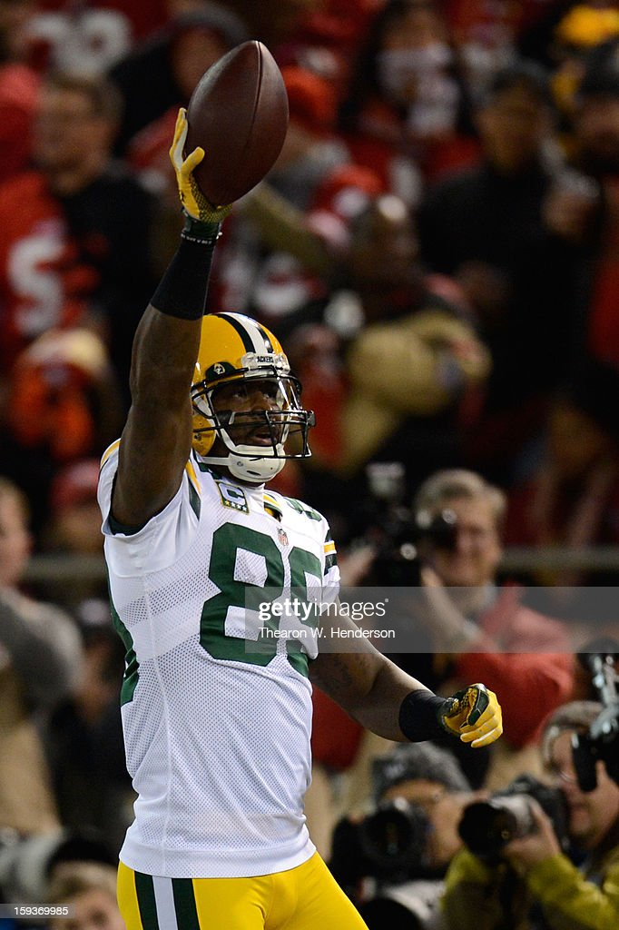 Wide receiver James Jones #89 of the Green Bay Packers celebrates after scoring a touchdown thrown by quarterback Aaron Rodgers #12 in the second quarter against the San Francisco 49ers during the NFC Divisional Playoff Game at Candlestick Park on January 12, 2013 in San Francisco, California.