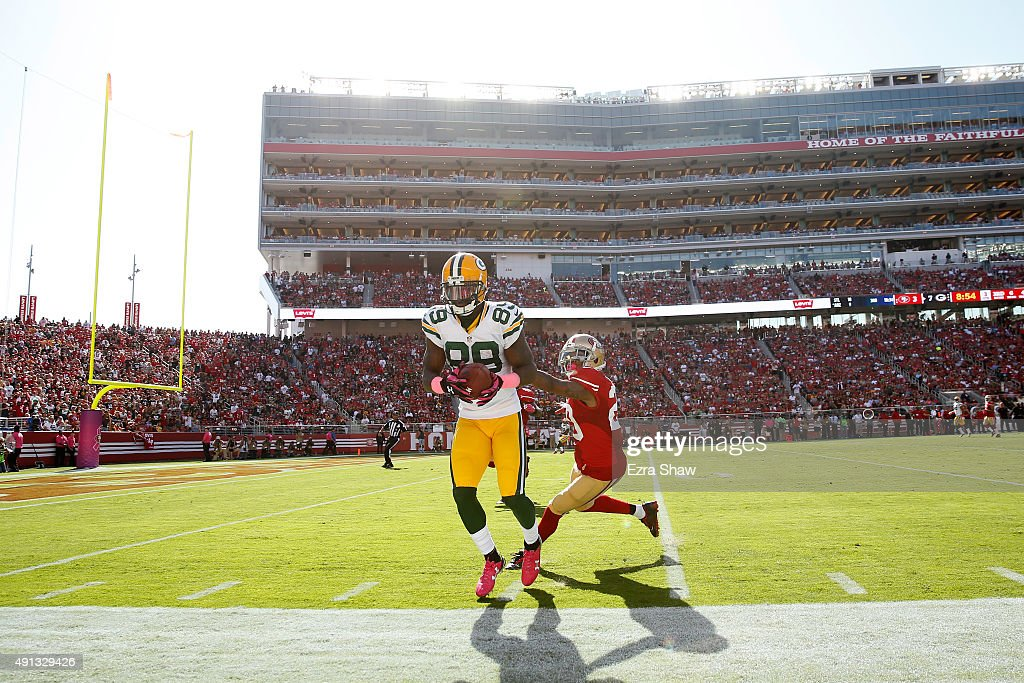 Wide receiver James Jones #89 of the Green Bay Packers makes a catch at the sideline against the San Francisco 49ers during their NFL game at Levi's Stadium on October 4, 2015 in Santa Clara, California.