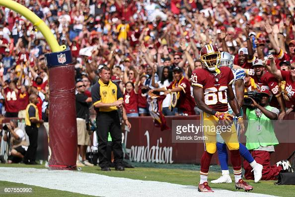 Wide receiver Jamison Crowder of the Washington Redskins celebrates after scoring a third quarter touchdown against the Dallas Cowboys at FedExField...