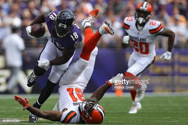 Wide receiver Jeremy Maclin of the Baltimore Ravens rushes past cornerback Jamar Taylor of the Cleveland Browns during the first quarter at MT Bank...