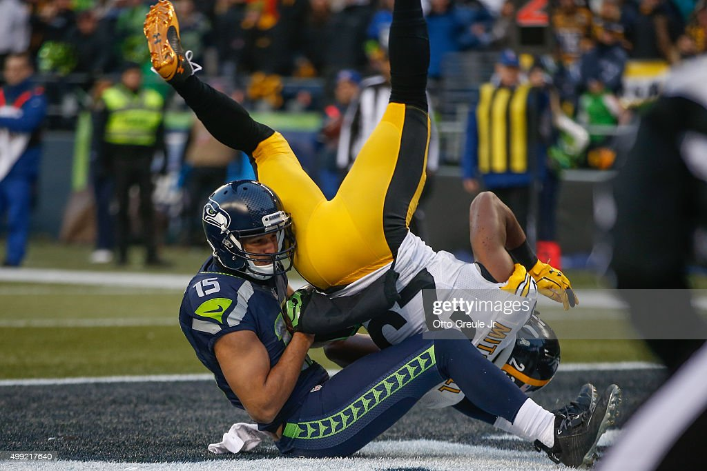 Wide receiver Jermaine Kearse #15 of the Seattle Seahawks scores a touchdown against free safety Mike Mitchell #23 of the Pittsburgh Steelers at CenturyLink Field on November 29, 2015 in Seattle, Washington. The Seahawks defeated the Steelers 39-30.