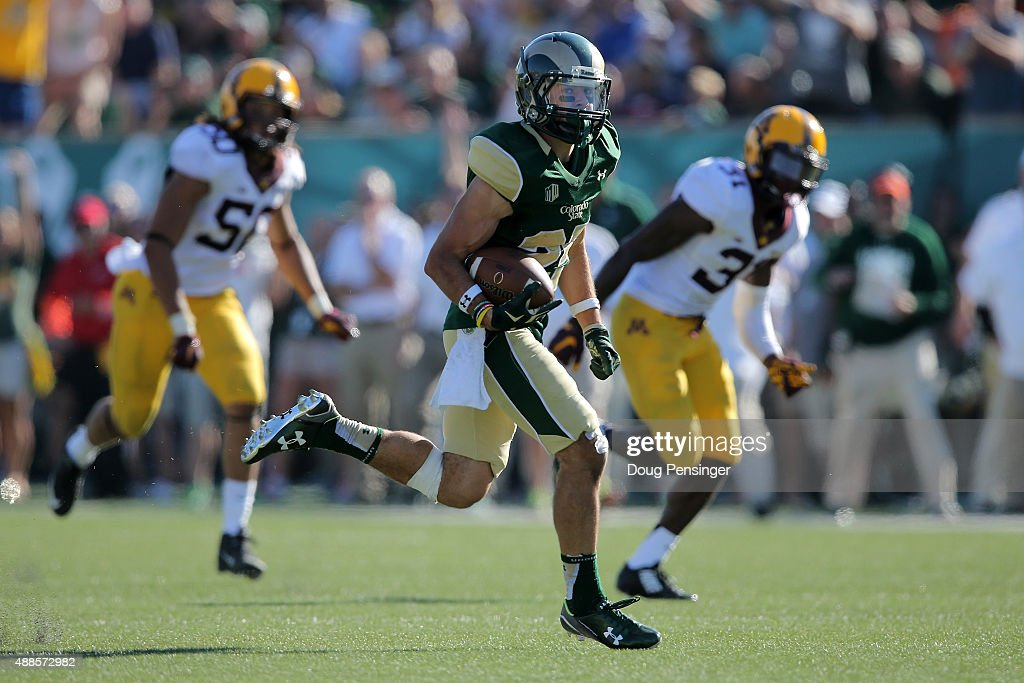 Wide receiver joe hansley 25 of the colorado state rams makes a 49