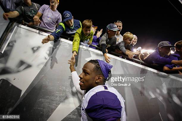 Wide receiver John Ross of the Washington Huskies heads off the field after the game against the Oregon Ducks on October 8 2016 at Autzen Stadium in...