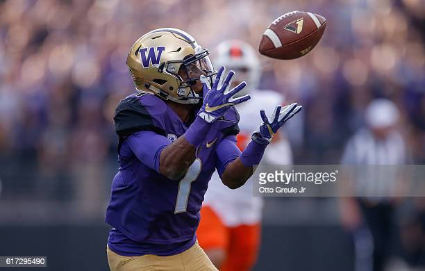 Wide receiver John Ross of the Washington Huskies makes a catch against the Oregon State Beavers on October 22 2016 at Husky Stadium in Seattle...