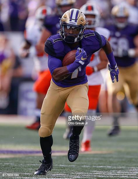 Wide receiver John Ross of the Washington Huskies rushes against the Oregon State Beavers on October 22 2016 at Husky Stadium in Seattle Washington