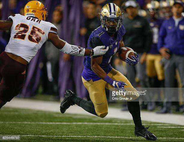 Wide receiver John Ross of the Washington Huskies rushes against the Arizona State Sun Devils on November 19 2016 at Husky Stadium in Seattle...
