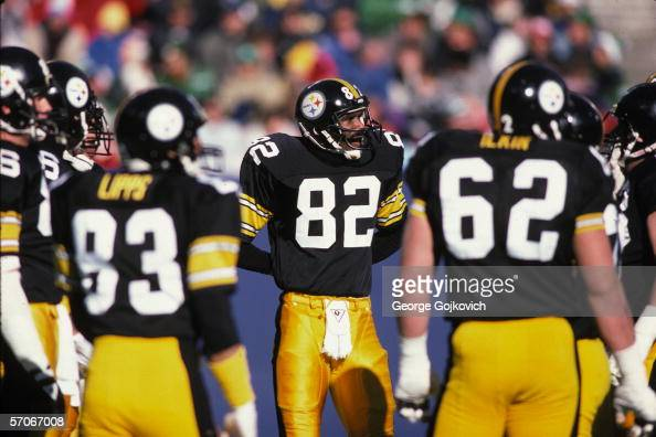 Wide receiver John Stallworth of the Pittsburgh Steelers in the huddle during a game at Three Rivers Stadium in December 1986 in Pittsburgh...