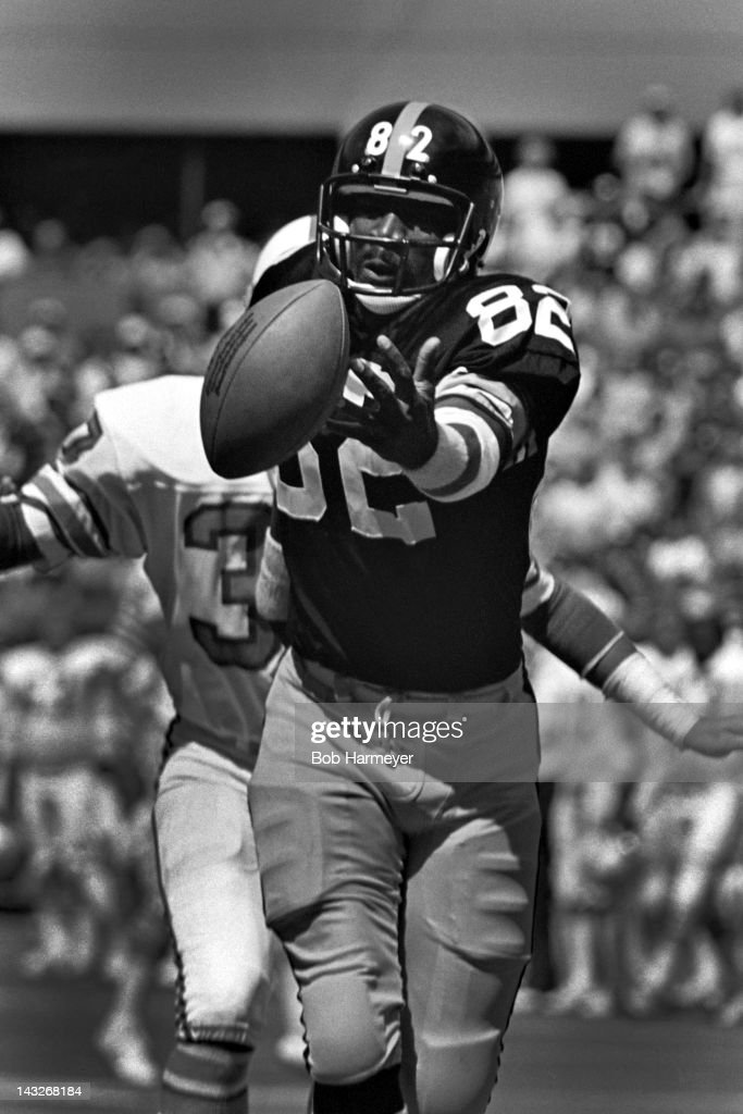 Wide receiver <a gi-track='captionPersonalityLinkClicked' href=/galleries/search?phrase=John+Stallworth&family=editorial&specificpeople=585421 ng-click='$event.stopPropagation()'>John Stallworth</a> #82 of the Pittsburgh Steelers watches a pass roll off his fingertips during the game against the Houston Oilers on September 7, 1980, at Three Rivers Stadium in Pittsburgh, Pennsylvania.