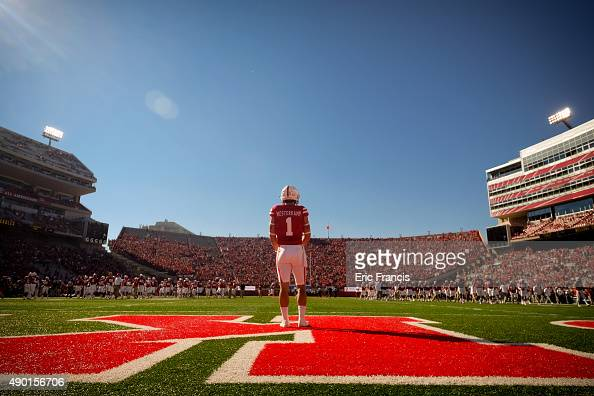Wide receiver Jordan Westerkamp of the Nebraska Cornhuskers stands in the end zone before their game against the Southern Miss Golden Eagles at...