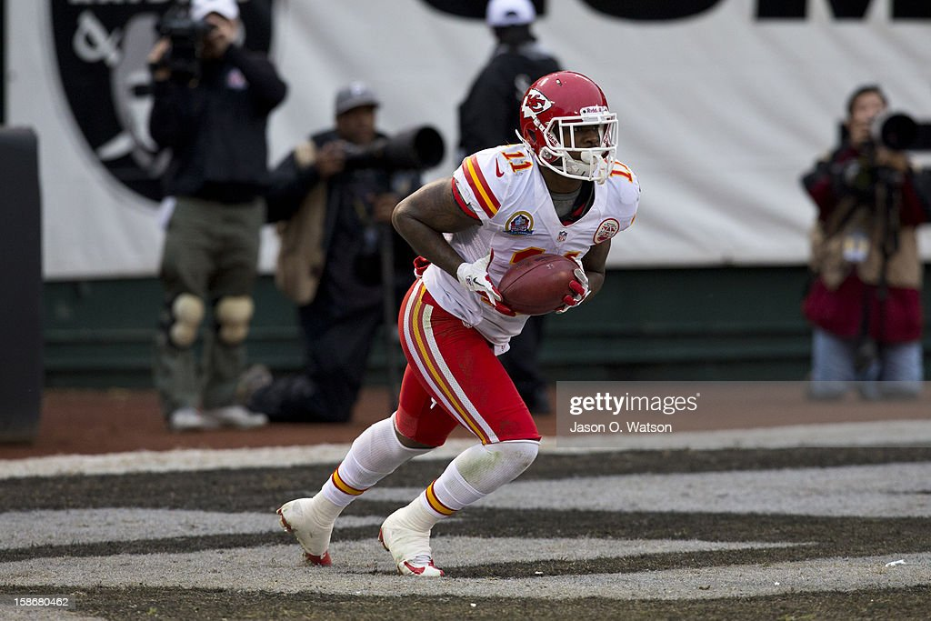Wide receiver Josh Bellamy #11 of the Kansas City Chiefs returns a kick off against the Oakland Raiders during the fourth quarter at O.co Coliseum on December 16, 2012 in Oakland, California. The Oakland Raiders defeated the Kansas City Chiefs 15-0. Photo by Jason O. Watson/Getty Images)