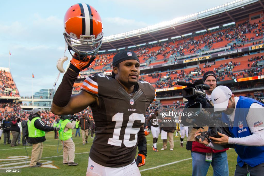 Wide receiver Josh Cribbs of the Cleveland Browns celebrates after the Browns defeated the Steelers at Cleveland Browns Stadium on November 25 2012...