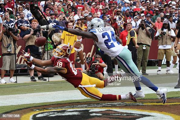 Wide receiver Josh Doctson of the Washington Redskins misses a catch against cornerback Morris Claiborne of the Dallas Cowboys in the second half at...