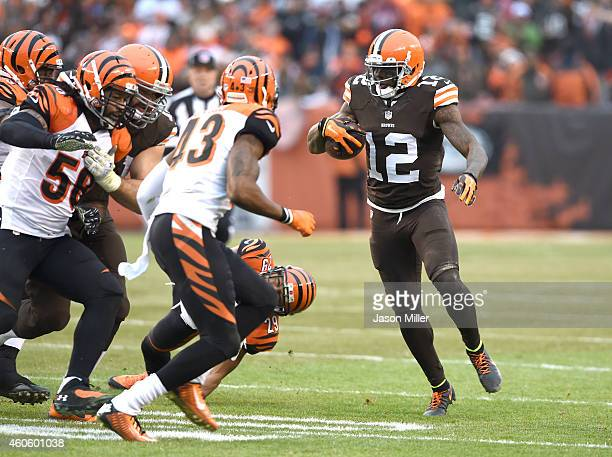 Wide receiver Josh Gordon of the Cleveland Browns runs after taking a handoff during the second quarter against the Cincinnati Bengals at FirstEnergy...