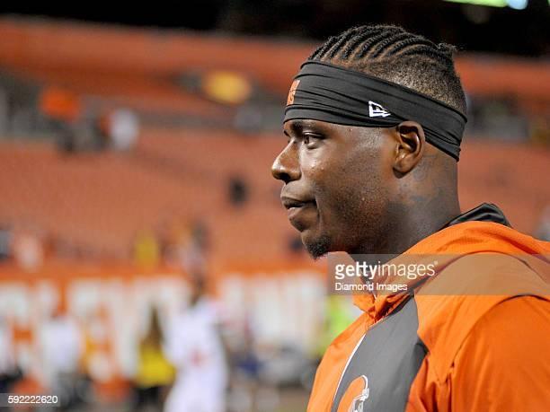 Wide receiver Josh Gordon of the Cleveland Browns walks off the field after a preseason game against the Atlanta Falcons on August 18 2016 at...
